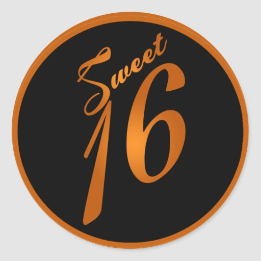 "20 - 1,5"" naranja del dulce 16 del dulce 16 del pegatina redonda"