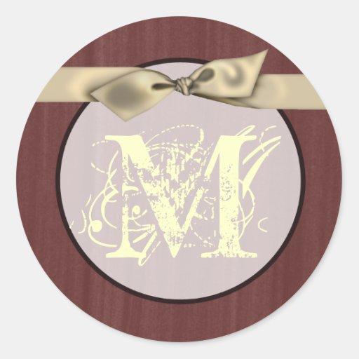 20 - 1,5 navidad del monograma del sello del sobre pegatina redonda