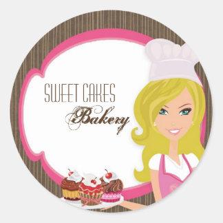 """20 - 1,5"""" panadero rubio en los pegatinas rosados  pegatinas redondas"""