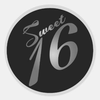 """20 - 1,5"""" plata del dulce 16 de los pegatinas del  pegatina redonda"""