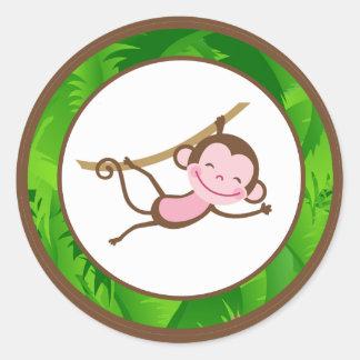 "20 - 1,5"" safari de selva de MonkeySwing del sello Pegatina Redonda"