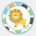"""20 - 1,5"""" sobre sella a rey Lion Safari de la Etiqueta Redonda"""