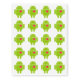 20 Android Robot Love Temporary Tattoos