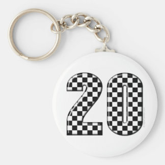 20 auto racing number basic round button keychain