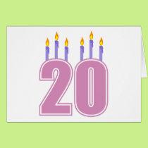 20 Birthday Candles (Purple / Pink) Card