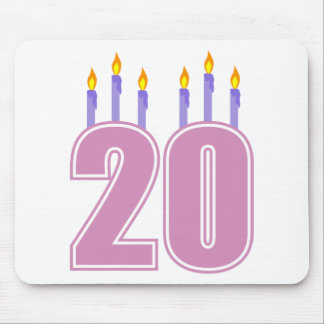 20 Birthday Candles (Purple / Pink) Mouse Pad