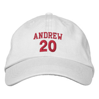 20 Birthday Custom Name Red Embroidery V05 Embroidered Baseball Cap