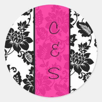 20 Black/Hot Pink Floral Damask Wedding Stickers