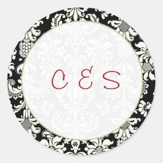20 Black/White Damask Wedding Favor Stickers