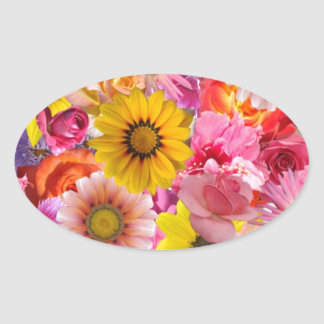 20 BRIGHT PINKS YELLOWS FLOWERS ASSORTMENT COLLECT OVAL STICKER