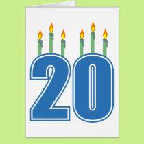 20 Candles (Blue / Green) Card