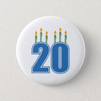 20 Candles (Blue / Green) Pinback Button