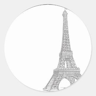 20 casandose en sello del sobre de París Pegatina Redonda
