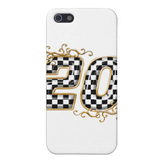 20 checkers flag number gold case for iPhone SE/5/5s