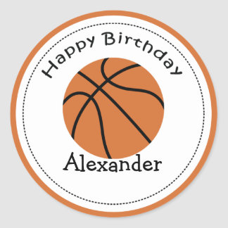 20 Customizable Cupcake Toppers Basketball Classic Round Sticker