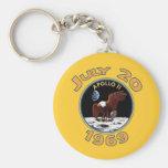 20 de julio de 1969 misión de Apolo 11 en la luna Llavero Redondo Tipo Pin