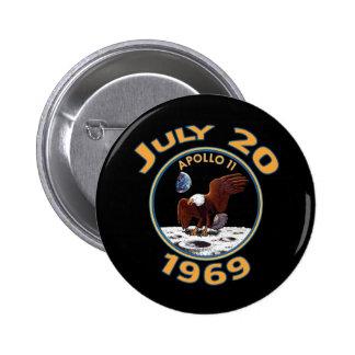 20 de julio de 1969 misión de Apolo 11 en la luna Pin Redondo De 2 Pulgadas