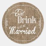 20 - el sello de 1,5 sobres come la bebida sea etiquetas redondas