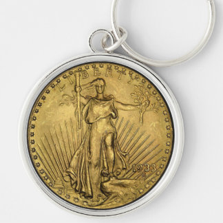 $20 GOLD PIECE Silver-Colored ROUND KEYCHAIN