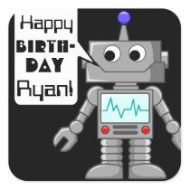 20 Happy Birthday Personalized Robot Stickers