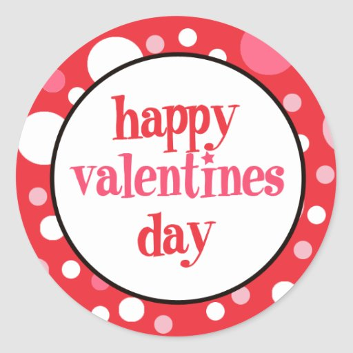 20 Happy Valentines Day Cupcake Toppers Classic Round Sticker