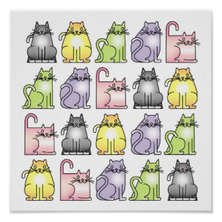 20 humerous cartoon cats poster