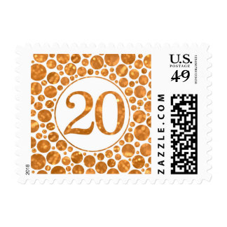 20 In Gold - 20th Birthday Party Stamp