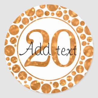 20 In Gold - 20th Birthday Party Stickers