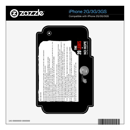 20 Laws of No Hope for the Human Race iPhone 2G Decal