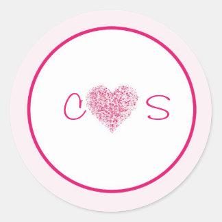 20 Light Pink Heart Wedding Favor Stickers