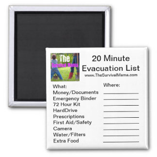 20 Minute Evacuation List Magnet