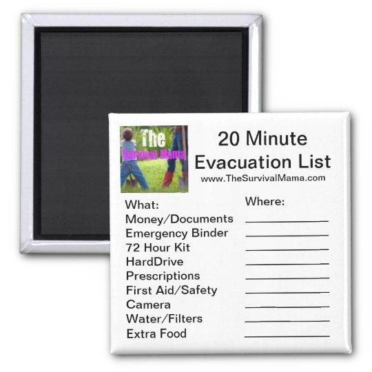20 Minute Evacuation List Magnet