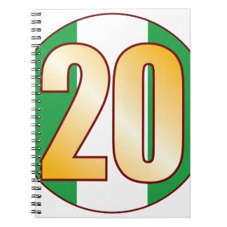 20 NIGERIA Gold Spiral Notebook