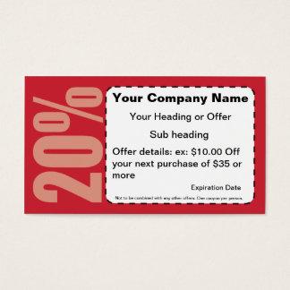 20% Off Coupon Business Card