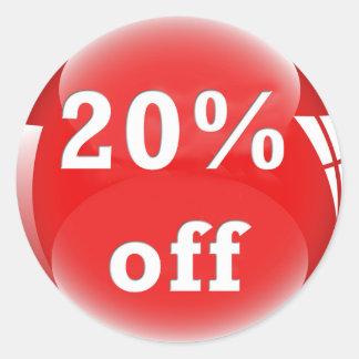 20% Off (Percent) Round Glossy Sticker