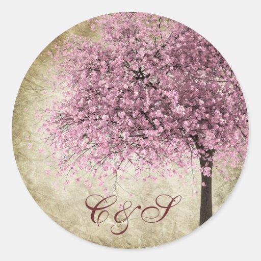 20 pegatinas rosados del favor del boda del árbol pegatina redonda