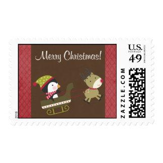 20 Penguin / Reindeer Christmas Gam Postage Stamps