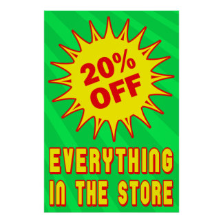 20 PERCENT OFF RETAIL SALE POSTER