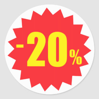 20 percent sale discount stickers, white and red classic round sticker
