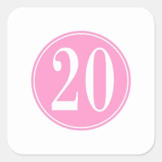 #20 Pink Circle Square Sticker