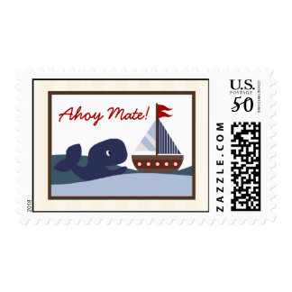 20 Postage Stamps Ahoy Mate Sailboat Whale Nautica