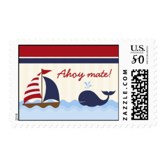 20 Postage Stamps Ahoy Nautical Whale