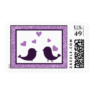 20 Postage Stamps Bird Swing Purple BG hearts back