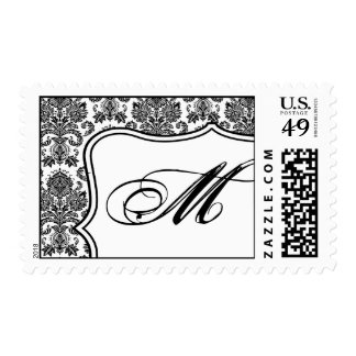 20 Postage Stamps Black White Damask Lace Print