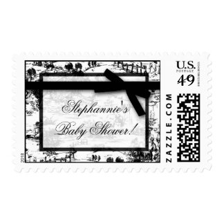 20 Postage Stamps Black White French Toile Fabric