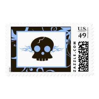 20 Postage Stamps Blue Boy Punk Rock Skull Flame