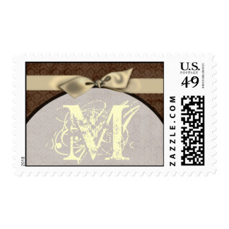 20 Postage Stamps Brown Damask Ivory Bow