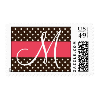 20 Postage Stamps Brown Polka Dot Pink