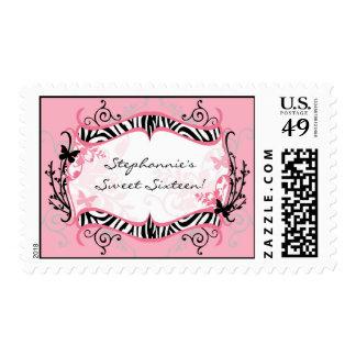 20 Postage Stamps Butterfly Zebra Print Pattern