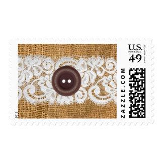 20 Postage Stamps Button Burlap Lace